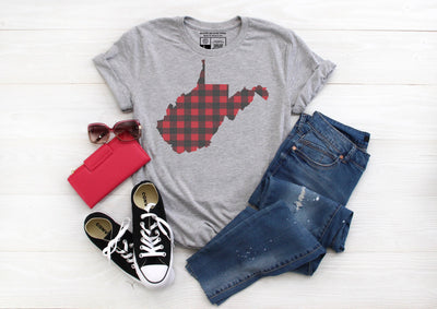 Red and Black Plaid Buffalo Check West Virginia State T-Shirt | V-Neck or Crew Neck | - Beyond Measure Living