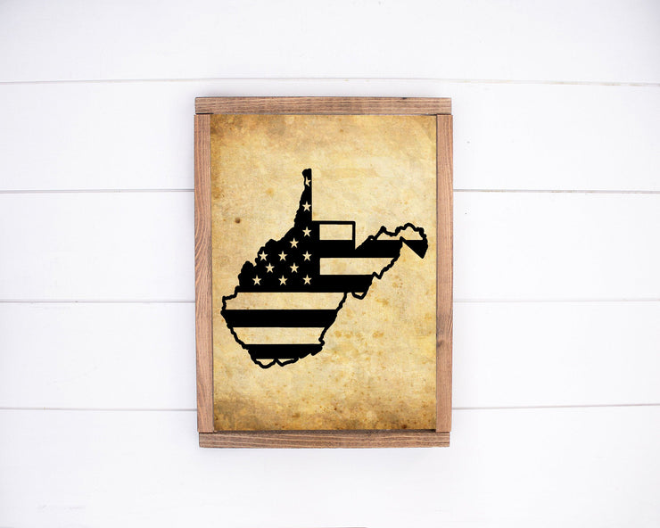 West Virginia American Flag Print | Handmade Archival Quality - Beyond Measure Living