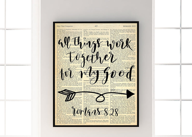 All Things Work Together For My Good | Romans 8:28 | 5x7, 8x10, or 11x14 | - Beyond Measure Living