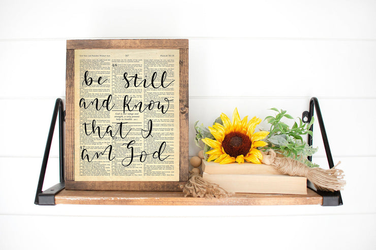 Be Still And Know That I Am God | Psalm 46:10 | Hand Lettered Bible Page | 5x7, 8x10, or 11x14 | - Beyond Measure Living