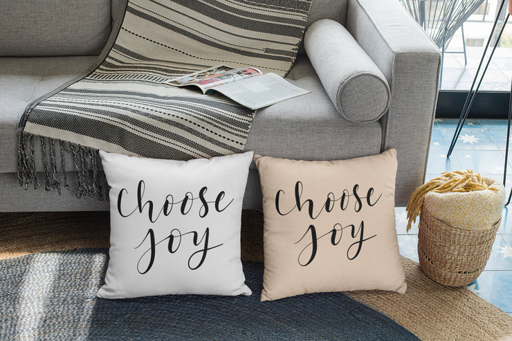 "Choose Joy - Hand Lettered Square Pillow | Natural | 18""x18"" - Beyond Measure Living"