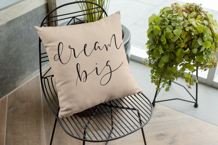 "Dream Big - Hand Lettered Square Pillow Cover | Natural Linen Color | 18""x18"" - Beyond Measure Living"