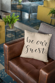 "Be Our Guest - Hand Lettered Square Pillow Cover | Natural Linen Color | 18""x18"" - Beyond Measure Living"