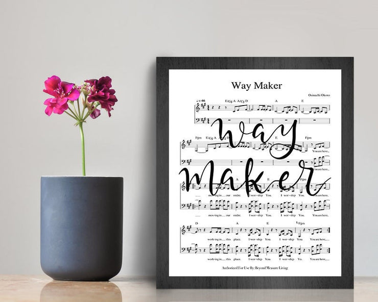 Way Maker - Hand Lettered Calligraphy Sheet Music - Beyond Measure Living