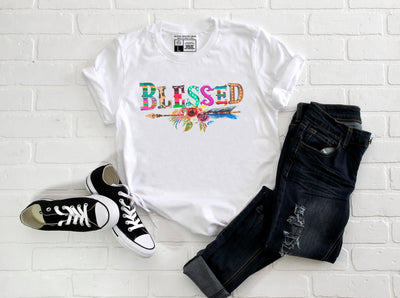 Blessed Bohemian T-Shirt | Gypsy Boho Leopard Arrow Floral Multicolor - Beyond Measure Living