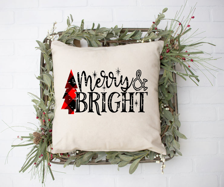 "Merry & Bright Plaid Tree - Square Pillow Cover | 18""x18"" - Beyond Measure Living"
