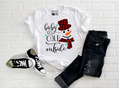 Baby It's Cold Outside T-Shirt | Snowman Snowflakes Tee | White or Gray - Beyond Measure Living