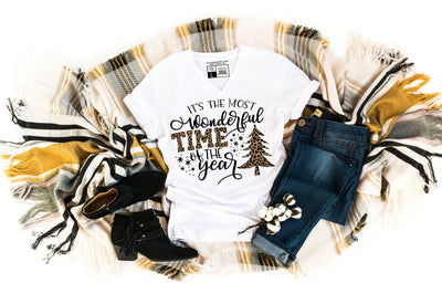 It's The Most Wonderful Time Of The Year T-Shirt | Leopard Christmas Tree - Beyond Measure Living