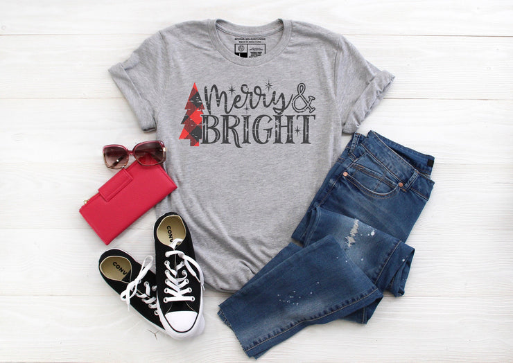 Merry & Bright T-Shirt | Red and Black Christmas Tree Plaid Design - Beyond Measure Living