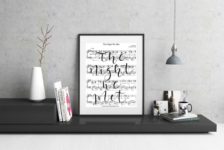 The Night We Met Hand Lettered Calligraphy Sheet Music | 5x7, 8x10, or 11x14 - Beyond Measure Living