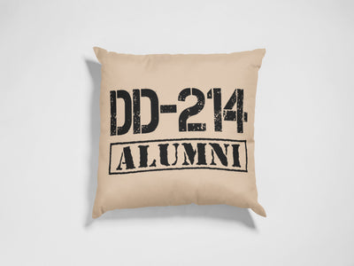 "DD-214 Alumni Square Pillow Cover | Natural Linen Color | 18""x18"" - Beyond Measure Living"