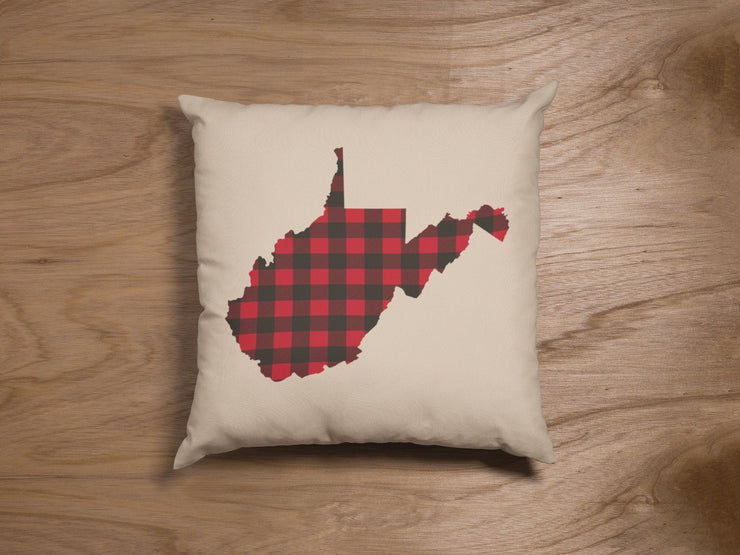 "Red & Black Plaid Pillow | Buffalo Check West Virginia State Throw | Natural  18""x18"" - Beyond Measure Living"