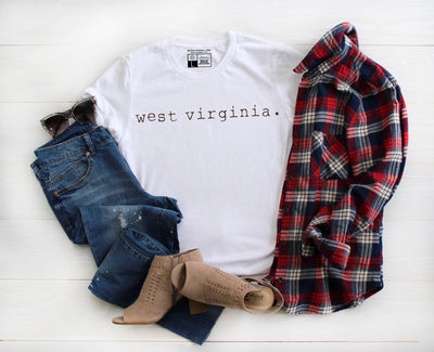 West Virginia Typewriter Shirt | Women Men Girls Boys Kids Youth Student Professor Mountaineer - Beyond Measure Living