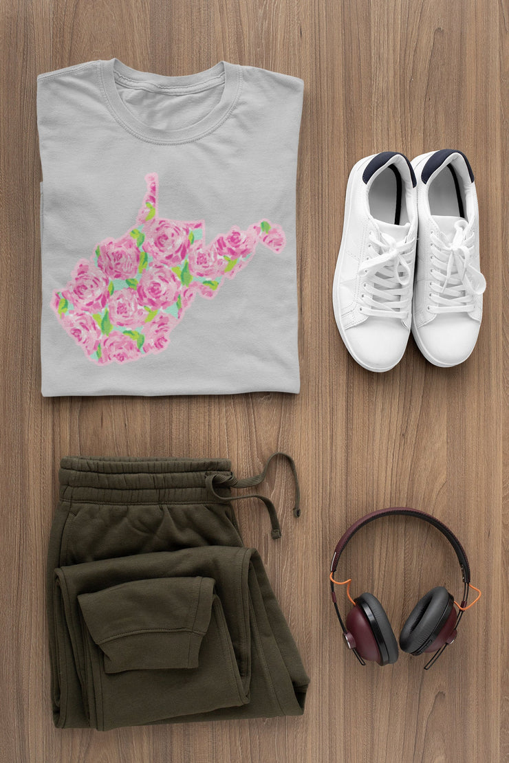 Pink Flower Pattern with Green Leaves - West Virginia State T-Shirt | V-Neck or Crew Neck - Beyond Measure Living