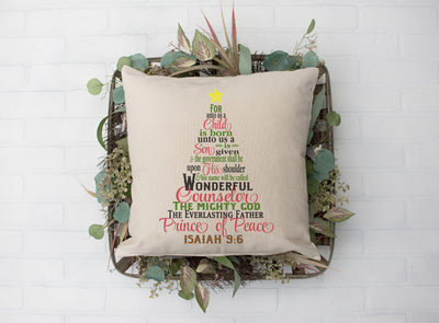 "For Unto Us A Child Is Born Pillow | Natural | 18""x18"" - Beyond Measure Living"