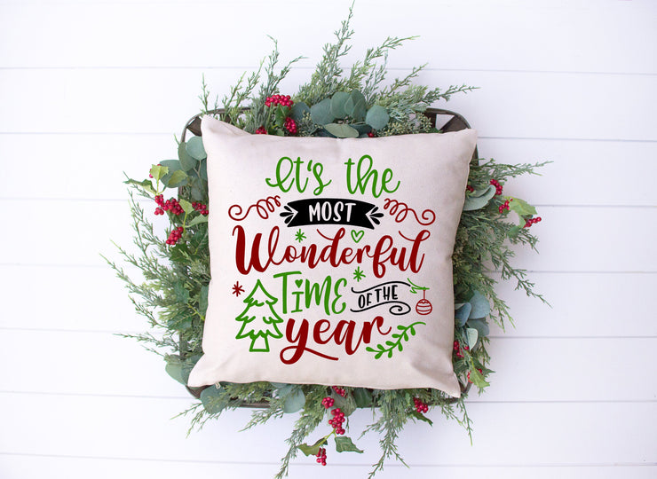 "It's The Most Wonderful Time Of The Year Pillow | Natural | 18""x18"" - Beyond Measure Living"