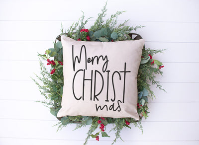 "Merry CHRISTmas Pillow | Natural | 18""x18"" - Beyond Measure Living"