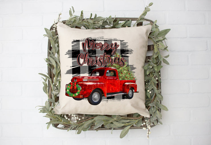 "Merry Christmas Plaid Background Red Truck Pillow | Natural | 18""x18"" - Beyond Measure Living"