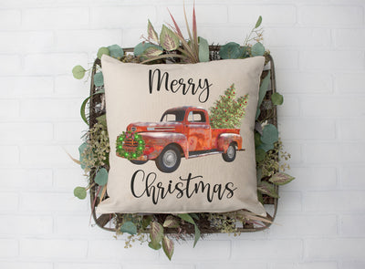 Merry Christmas Red Truck Pillow | Natural | 18x18 - Beyond Measure Living