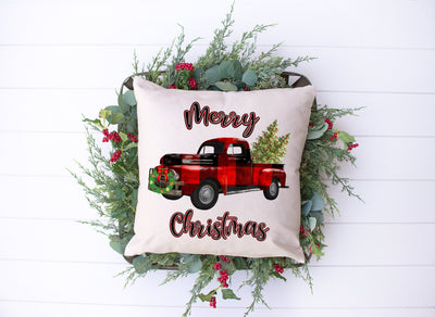"Merry Christmas Plaid Red Truck Pillow | Natural | 18""x18"" - Beyond Measure Living"