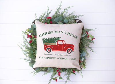 "Christmas Trees Red Truck Pillow | Natural | 18""x18"" - Beyond Measure Living"