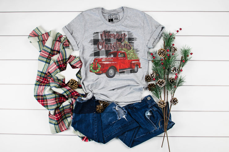 Merry Christmas Plaid Background Red Truck T-Shirt | Cute Christmas Tee Party Shirts - Beyond Measure Living