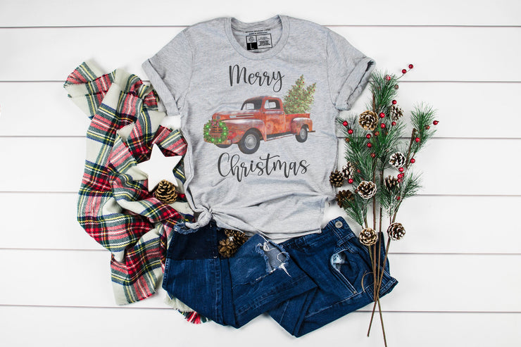 Merry Christmas Red Truck T-Shirt | Cute Christmas Tee Party Shirts - Beyond Measure Living