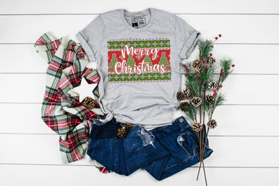 Merry Christmas Sweater Print T-Shirt | Cute Christmas Tee Party Shirts - Beyond Measure Living