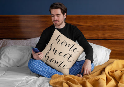 Home Sweet Home - Hand Lettered Square Pillow | Natural | 18 x18 - Beyond Measure Living