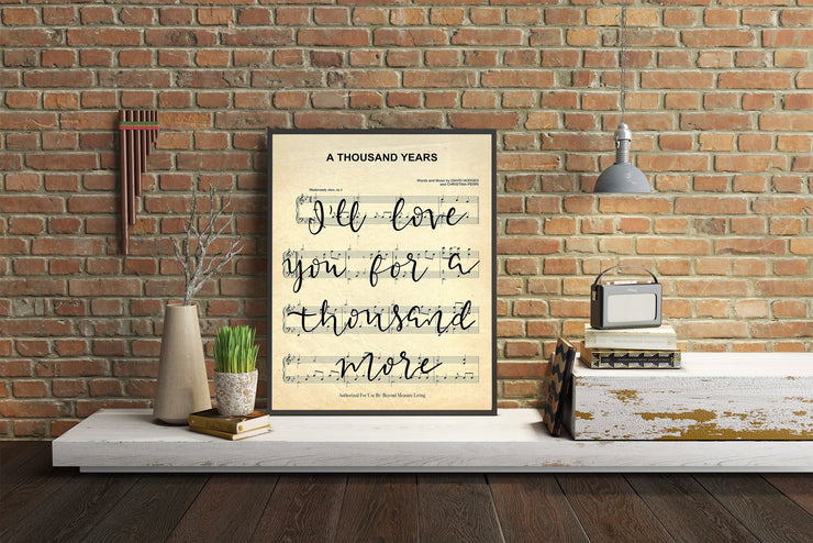 A Thousand Years - Hand Lettered Sheet Music - Beyond Measure Living