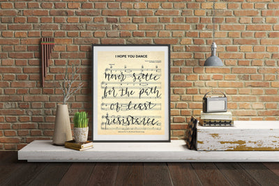 I Hope You Dance - Hand Lettered Calligraphy Sheet Music | 5x7, 8x10, or 11x14 - Beyond Measure Living