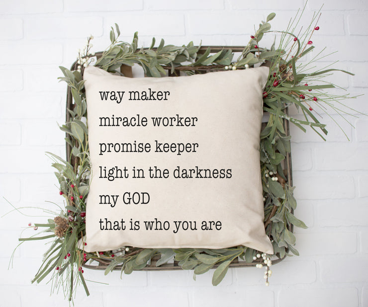 "Way Maker Miracle Worker Square Pillow Cover | Natural Linen Color | 18""x18"" - Beyond Measure Living"