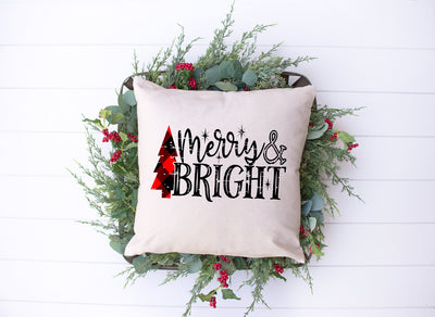 "Merry & Bright Plaid Tree Square Pillow | Natural | 18""x18"" - Beyond Measure Living"