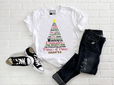 Christmas Tree Shape Scripture T-Shirt | For Unto Us A Child Is Born - Beyond Measure Living
