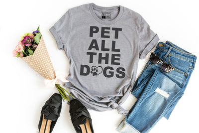 Pet All The Dogs T-Shirt | Dog Lover Rescue Adoption Trainer Training Veterinarian Vet Dog Mom - Beyond Measure Living