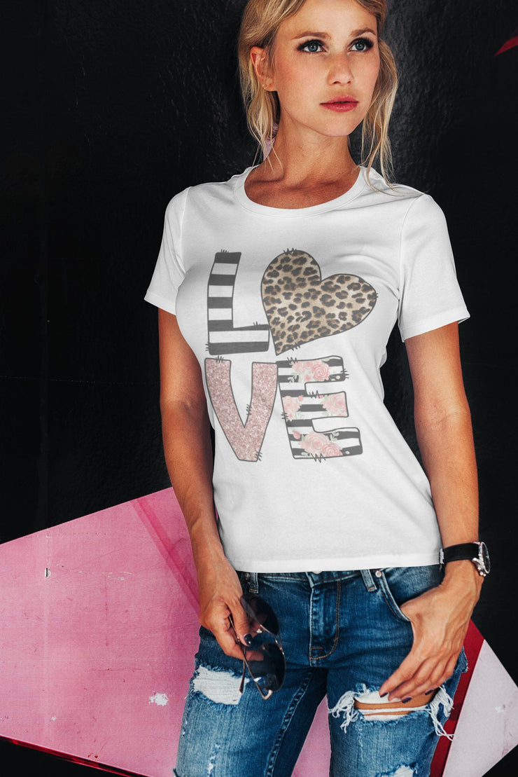 Love T-Shirt | Striped, Leopard, Rose Gold, Floral | Gray or White | Adult or Youth - Beyond Measure Living