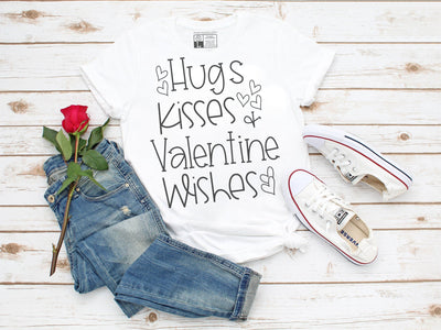 Hugs Kisses + Valentine Wishes T-Shirt | Gray or White, Crew or V-Neck - Beyond Measure Living