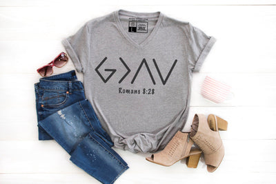 God Is Greater Than Our Ups and Downs T-Shirt | Scripture Tee | Romans 8:28 - Beyond Measure Living