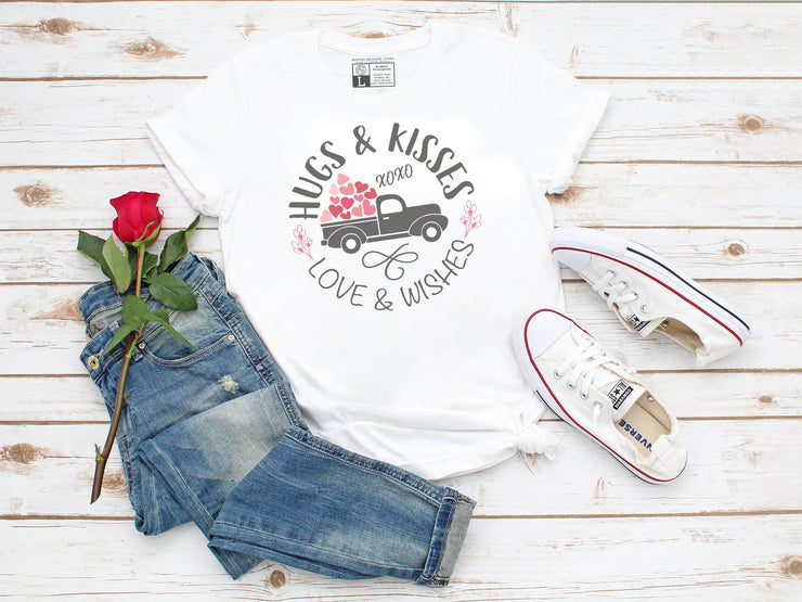 Hugs and Kisses, Love and Wishes Valentine's Day Shirt | Cute Old Truck With Hearts - Beyond Measure Living