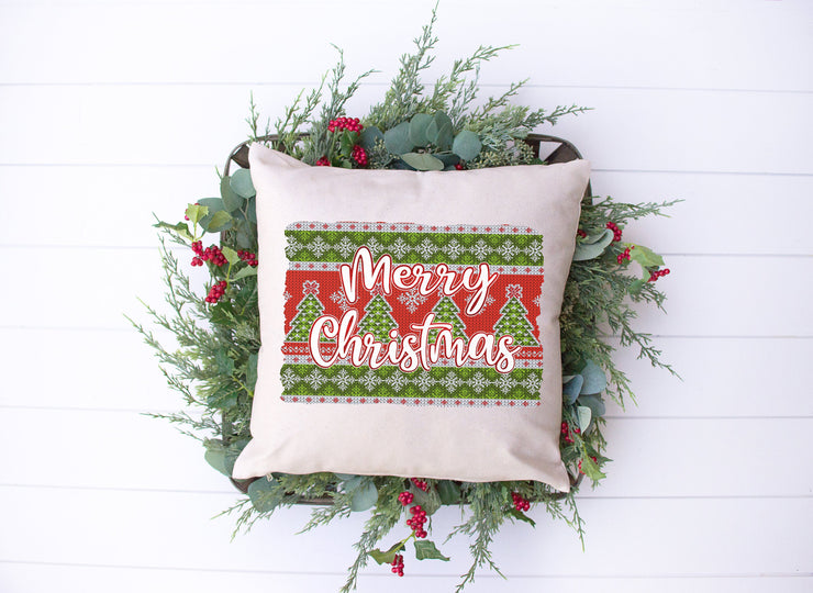 "Merry Christmas Sweater Style Pillow | Natural | 18""x18"" - Beyond Measure Living"