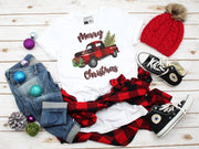 Merry Christmas Plaid Red Truck T-Shirt | Cute Christmas Tee Party Shirts - Beyond Measure Living