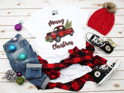 Merry Christmas Plaid Red Truck T-Shirt | Cute Christmas Tee Party Shirts Colorful Comfy Tree Design | Unisex V-Neck or Crew Neck - Beyond Measure Living