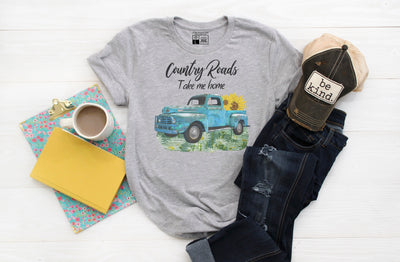 Country Roads Take Me Home Shirt | Rustic Old Blue Truck with Sunflowers - Beyond Measure Living