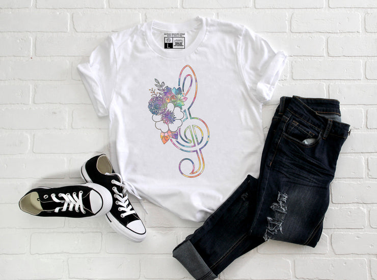Watercolor Floral Treble Clef | V-Neck or Crew Neck | Luxury Soft Unisex Fit - Beyond Measure Living