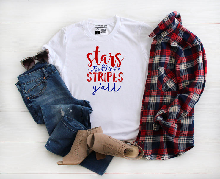 Stars and Stripes Y'all Shirt | American USA Tee | Independence Day Fourth of July - Beyond Measure Living