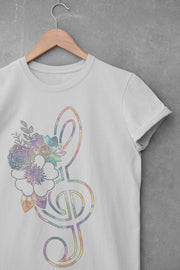 Colorful Floral Treble Clef T-Shirt | Band Tee - Beyond Measure Living
