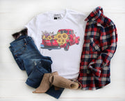 Old Red Truck with Sunflowers Watercolor Shirt - Beyond Measure Living