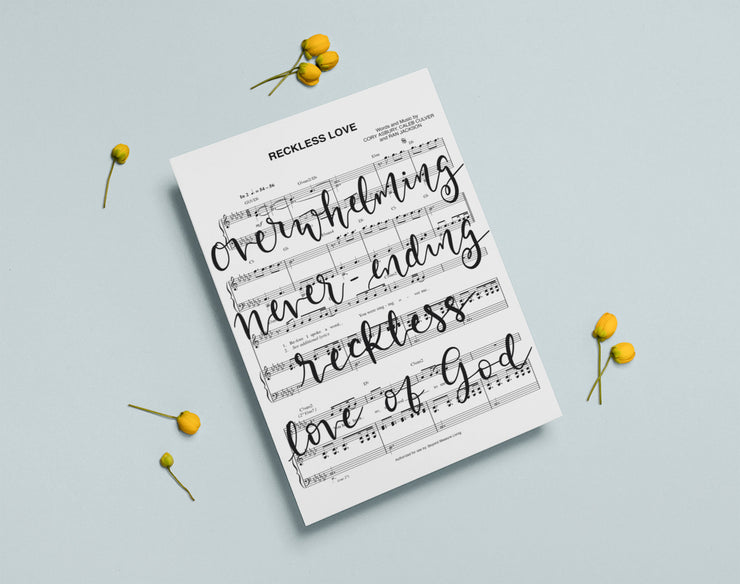 Reckless Love - Hand Lettered Sheet Music | 5x7, 8x10, or 11x14 | - Beyond Measure Living