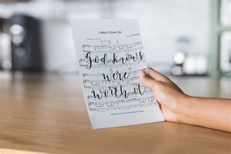 I Won't Give Up - Hand Lettered Sheet Music | 5x7, 8x10, or 11x14 | - Beyond Measure Living