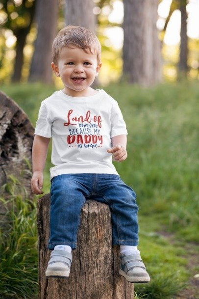 Land Of The Free Because My Daddy Is Brave Shirt | American USA Tee | Independence Day Fourth of July - Beyond Measure Living
